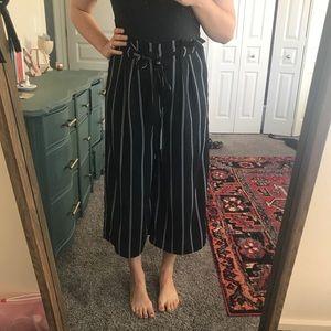 Sienna Sky Black/White Striped Wide Leg Crop Pants